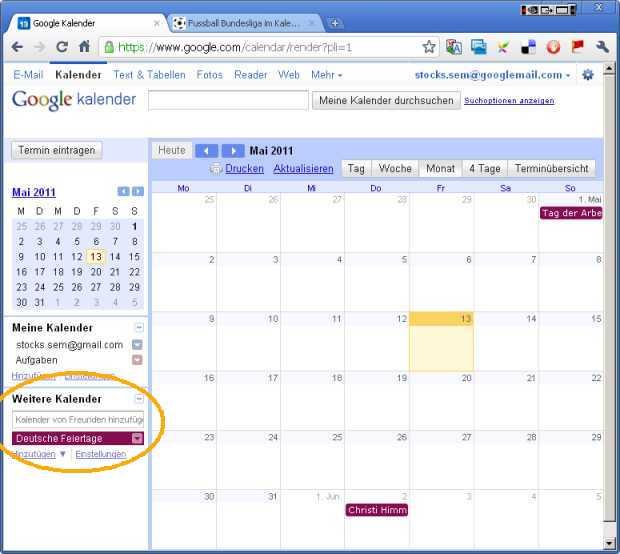 Eigenen Google Kalender öffnen