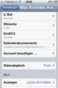 iPhone iCal Kalenderabonnements
