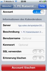 iCal-Account löschen