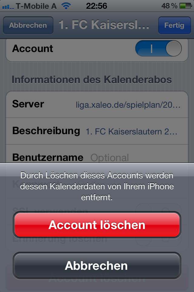 handy account löschen
