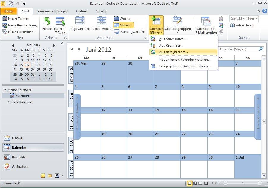 em spielplan im Outlook Kalender