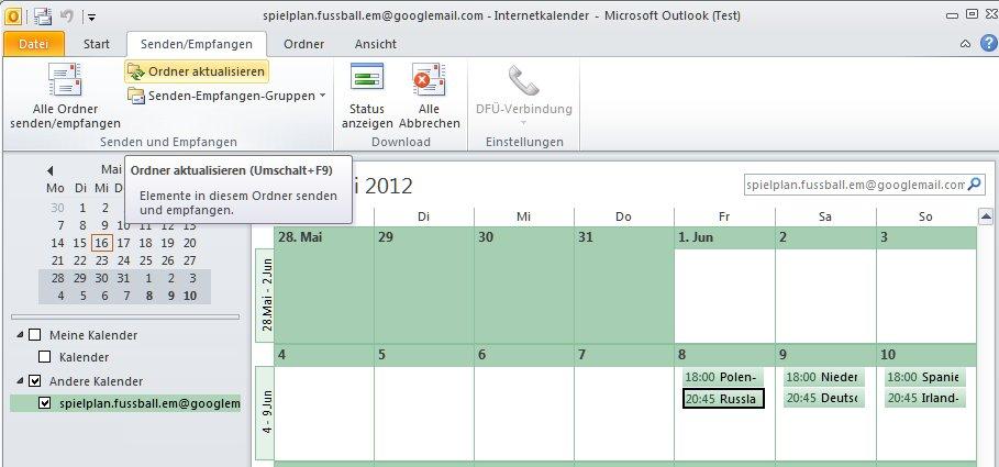 Outlook Kalender für Euro 2012 aktualisieren
