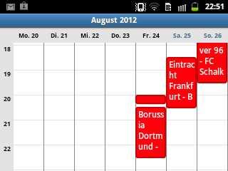 So sehen die Bundesliga Termine im Android Kalender aus