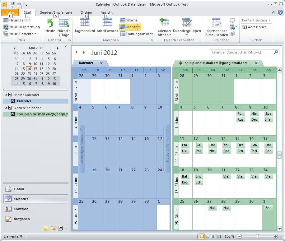 Outlook Spielplan EM2016