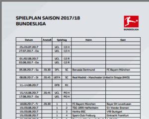 Bundesliga Spielplan 2017 als PDF herunterladen